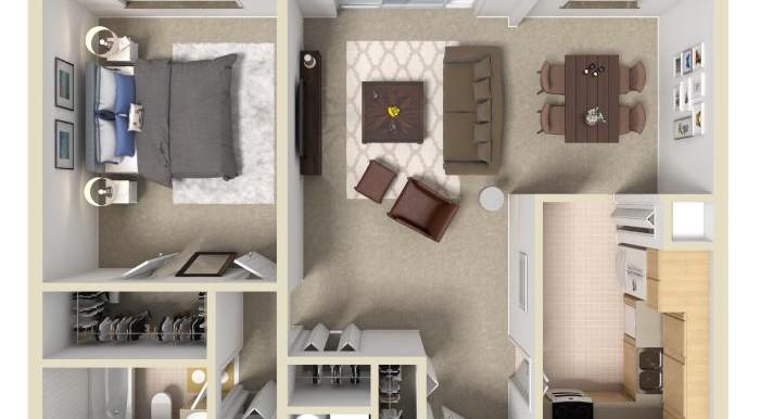 2 bd B 3D floorplan
